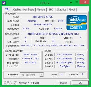Характеристики процессора Intel Core i7 4770K