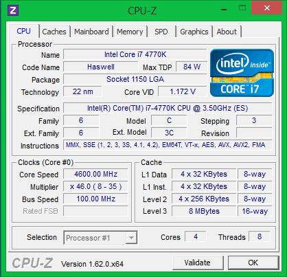 Характеристики процессора Intel Core i7 4770K после разгона