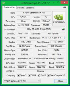 Характеристики ASUS GTX 760 DirectCU II OC в номинале