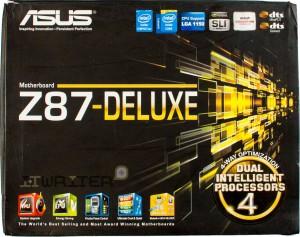 Упаковка материнской платы ASUS Z87 Deluxe. Лицевая сторона