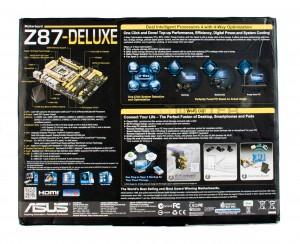Упаковка материнской платы ASUS Z87 Deluxe. Обратная сторона