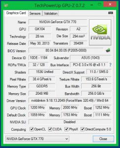 Характеристики видеокарты ASUS GTX 770 DirectCU II OC в разгоне