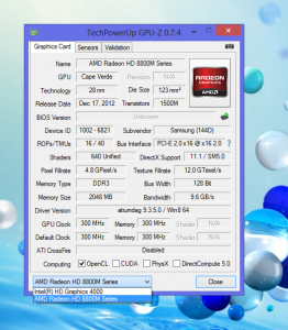 Характеристики AMD Radeon HD 8850M