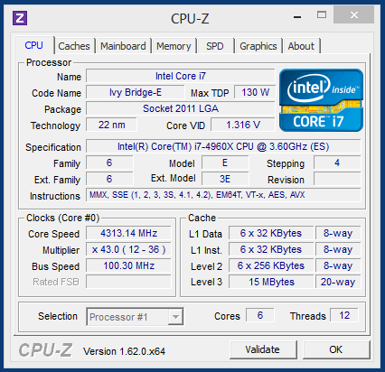 Характеристики процессора Intel Core i7 4960X в разгоне