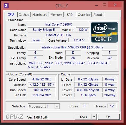 Intel Core i7 3960X @ 4200 МГц