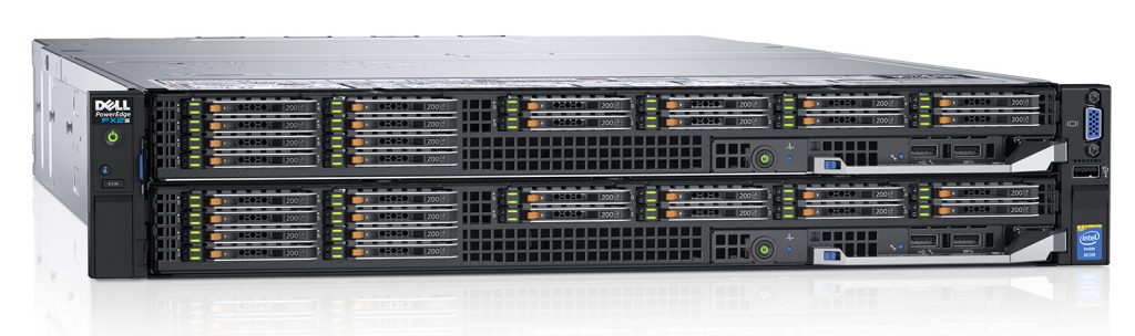Dell PowerEdge FX2s rack server chassis populated with 2x Dell PowerEdge FC830 blade servers, each with 16x 1.8-inch hard drives.